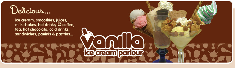 Vanilla ice cream, smoothies, juices, hot drinks, illy coffee, tea, hot chocolate, milk shakes, sandwiches, paninis and pastries